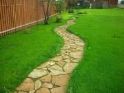 Благоустройство,  озеленение,  рулонный газон,  природный камень,  мульча